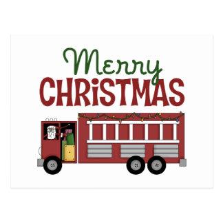 Firefighter Merry Christmas Postcard