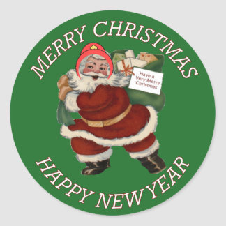 FIREFIGHTER MERRY CHRISTMAS SANT CLAUS CLASSIC ROUND STICKER