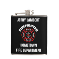Firefighter Name Template Hip Flasks