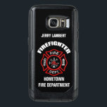"Firefighter Name Template OtterBox Samsung Galaxy S7 Case<br><div class=""desc"">Red Fire Department logo. Personalize with your name and department. Great for firemen and first respondents.</div>"