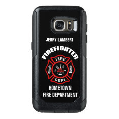 Firefighter Name Template OtterBox Samsung Galaxy S7 Case at Zazzle