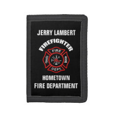 Firefighter Name Template Trifold Wallet at Zazzle