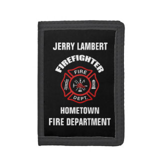 Firefighter Name Template Tri-fold Wallets