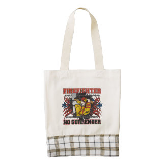 Firefighter No Surrender Zazzle HEART Tote Bag