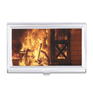 Firefighter On Fire Business Card Case