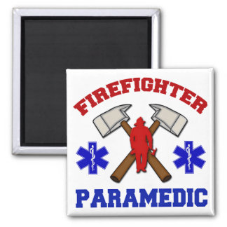 Firefighter Paramedic 2 Inch Square Magnet