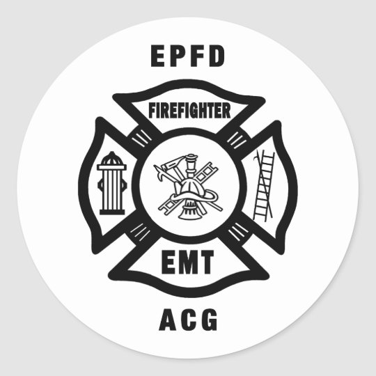 Firefighter Party Time Classic Round Sticker