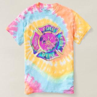 Firefighter Pastel Tie Dye Tee Shirt