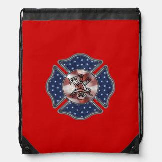Firefighter Patriotic Cinch Bags