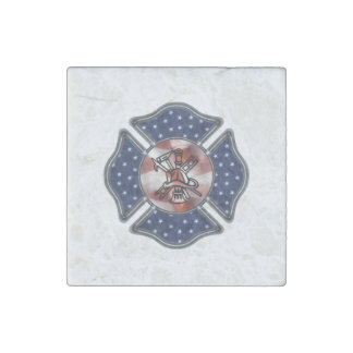 Firefighter Patriotic Stone Magnet