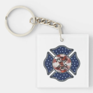 Firefighter Patriotic Keychain