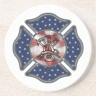 Firefighter Patriotic Maltese Beverage Coaster