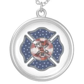 Firefighter Patriotic Maltese Necklace