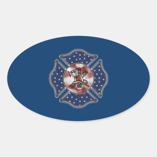 Firefighter Patriotic Maltese Oval Sticker