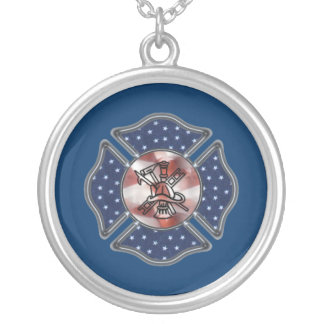 Firefighter Patriotic Maltese Silver Plated Necklace