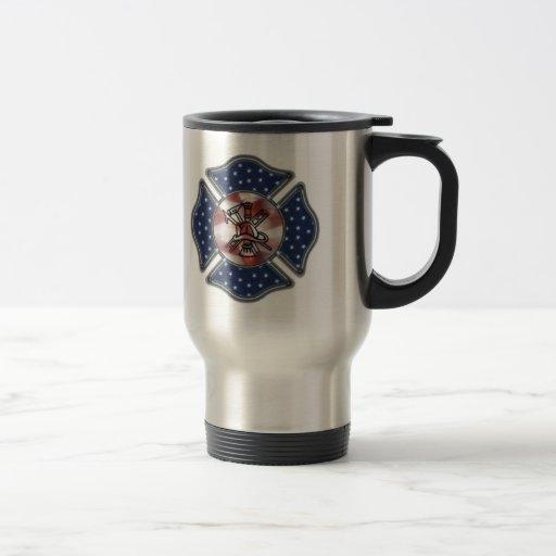 Firefighter Patriotic 15 Oz Stainless Steel Travel Mug