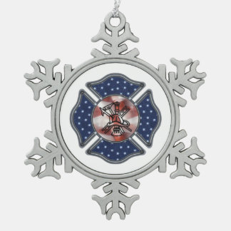 Firefighter Patriotic Snowflake Pewter Christmas Ornament
