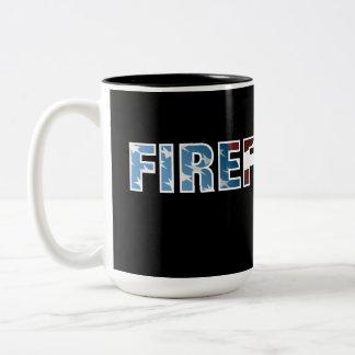 Firefighter Patriotic Two-Tone Coffee Mug