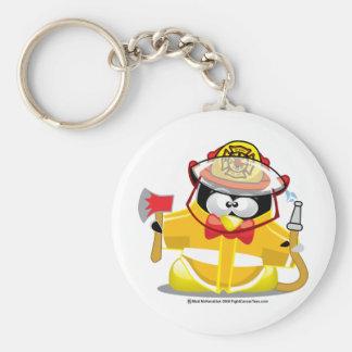 Firefighter Penguin Basic Round Button Keychain