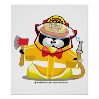 Firefighter Penguin Poster