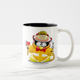 Firefighter Penguin Two-Tone Coffee Mug