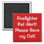 Firefighter Pet Alert! 2 Inch Square Magnet