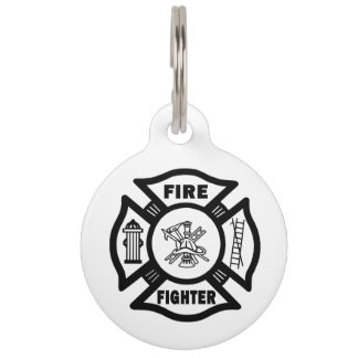 Firefighter Pet Name Tag