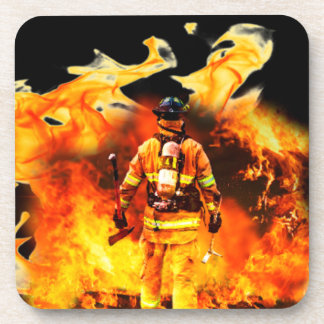 Firefighter Plastic coasters with cork back - 6