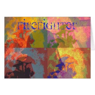 Firefighter Pop Art Card