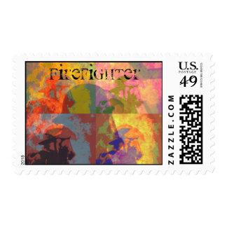 Firefighter Pop Art Stamp