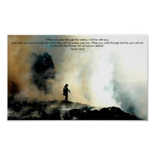 Firefighter Poster - Isaiah 43:2