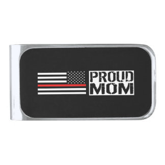 Firefighter - Proud Mom Silver Finish Money Clip