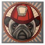 Firefighter Pug Ceramic Tile