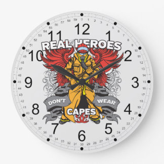 Firefighter Real Heroes Clock