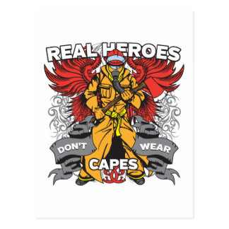 Firefighter Real Heroes Postcard