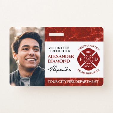 Firefighter Red Marble Photo Signature ID Badge