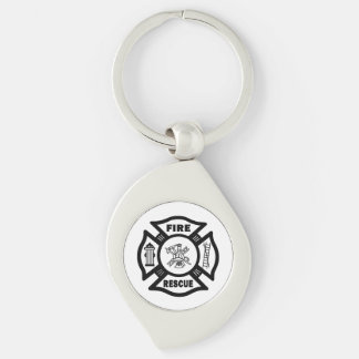 Firefighter Rescue Silver-Colored Swirl Metal Keychain