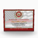 """Firefighter Retirement Award<br><div class=""""desc"""">Classic thin red line firefighter flag in the background of this beautiful retirement keepsake. Be sure to edit all the text fields to make it 100% personalized.</div>"""