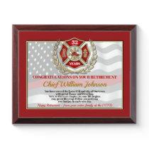 Firefighter Retirement Award Plaque