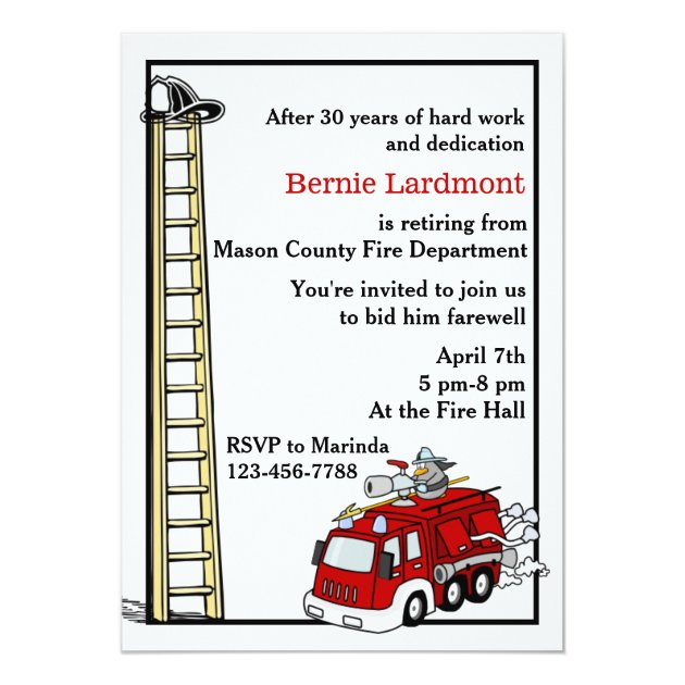 Firefighter Retirement Birthday Party Invitation Zazzle Com