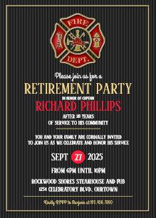 firefighter retirement invitations zazzle