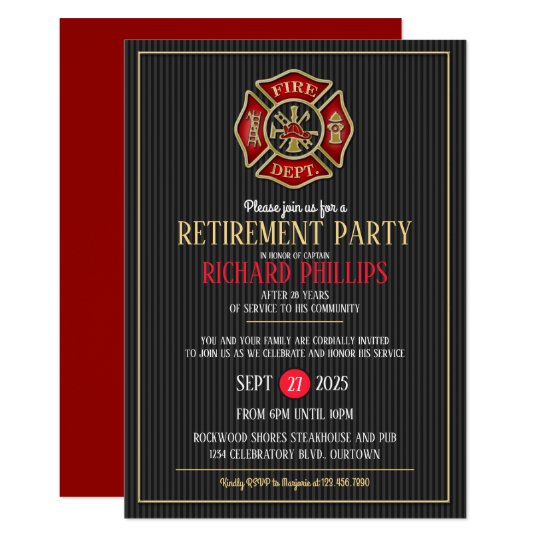 Firefighter Retirement Party Invitations Zazzle Com