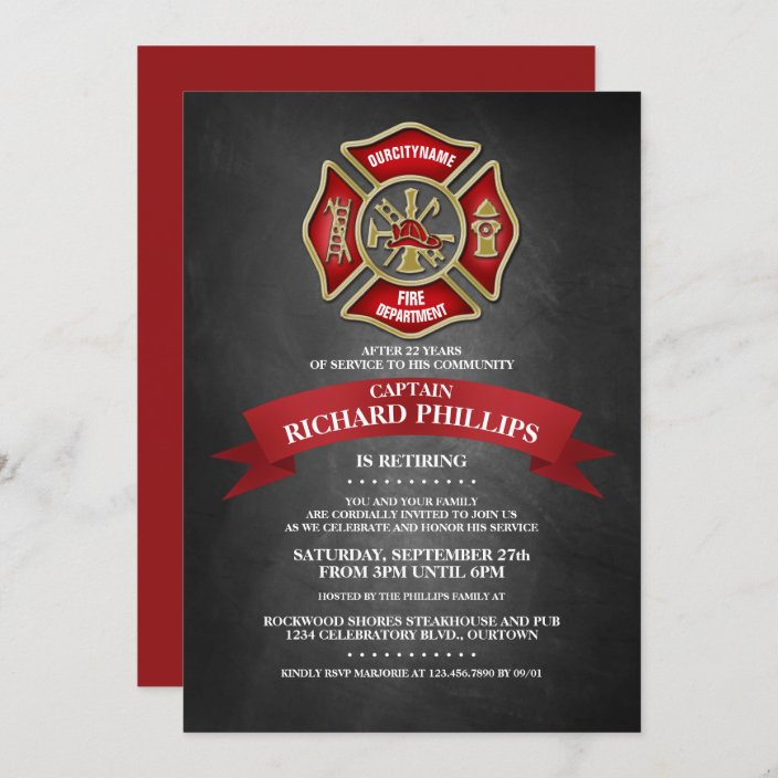 Firefighter theme Retirement Invitation EACH WITH ENVELOPES
