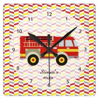 Firefighter room square wall clocks