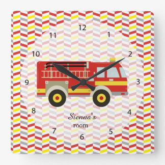 Firefighter room square wall clock