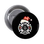 Firefighter Santa Claus 2 Inch Round Button
