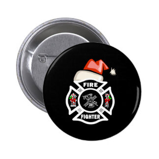 Firefighter Santa Claus Pinback Button