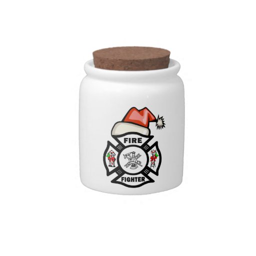 Firefighter Santa Claus Candy Jars