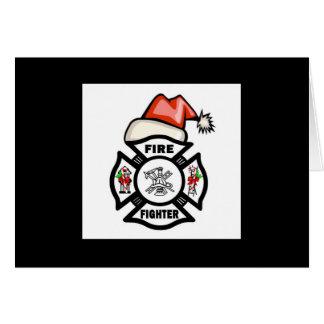 Firefighter Santa Claus Card