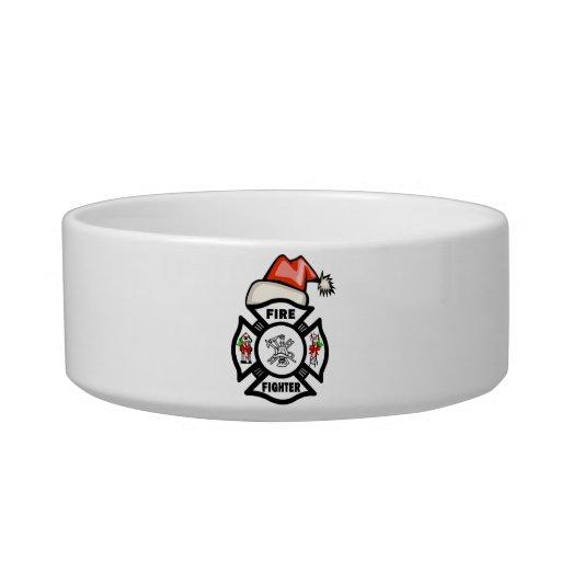 Firefighter Santa Claus Cat Food Bowl